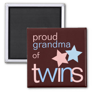 Twins Pink Blue Brown Proud Grandma Magnet