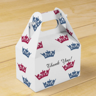 Twins Pink Blue Crowns Birthday Party Favor Boxes