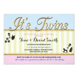 Twins Pink Blue Gold Boy Girl Baby Shower Invite