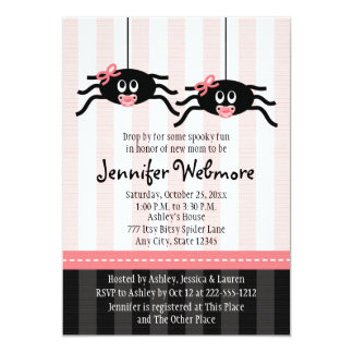 Twins Pink Spider Baby Shower Invitations