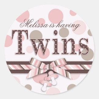 Twins Pink Taupe Polka Dots Baby Shower Round Sticker