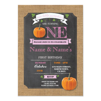 Twins Pumpkin 1st First One Birthday Party Invite