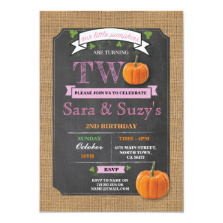Twins Pumpkin 2nd Second Two Birthday Party Invite