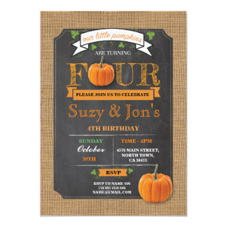 Twins Pumpkin 4TH 4 Fourth 4 Birthday Party Invite