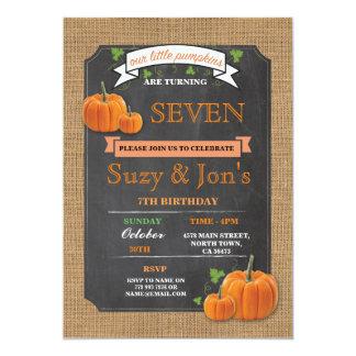 Twins Pumpkin Any Age Birthday Party Invitation