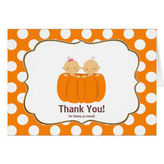 Twins Pumpkin Thank You Note Card Girl Boy