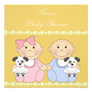 Twins Puppies Yellow Baby Shower Invite