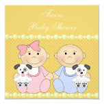 """Twins & Puppies Yellow Baby Shower 5.25"""" Square Invitation Card"""