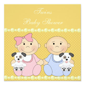 Twins & Puppies Yellow Baby Shower Invitation