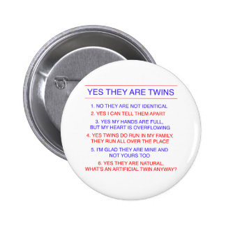 Twins Questions Fraternal 2 Inch Round Button