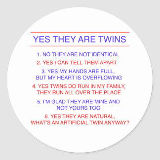 Twins Questions Fraternal Classic Round Sticker