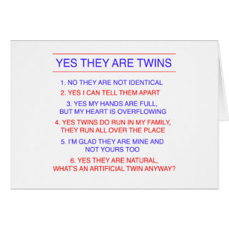 Twins Questions Fraternal Greeting Card