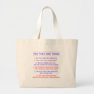 Twins Questions Fraternal Large Tote Bag