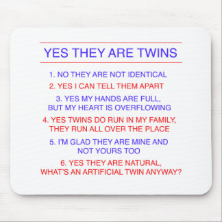 Twins Questions Fraternal Mouse Pad
