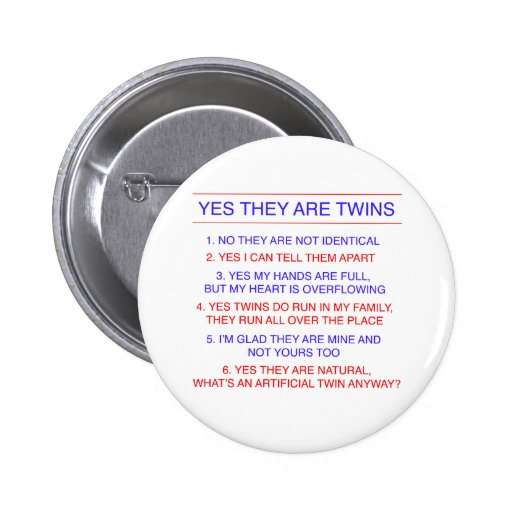 Twins Questions Fraternal Pinback Button