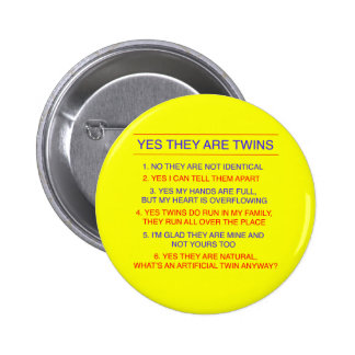 Twins Questions Fraternal Yellow 2 Inch Round Button