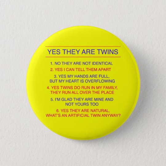 Twins Questions Fraternal Yellow Button