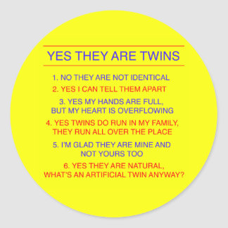 Twins Questions Fraternal Yellow Classic Round Sticker