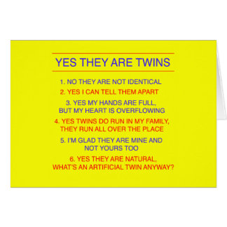 Twins Questions Fraternal Yellow Greeting Card