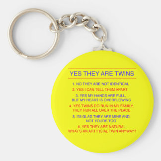 Twins Questions Fraternal Yellow Keychain