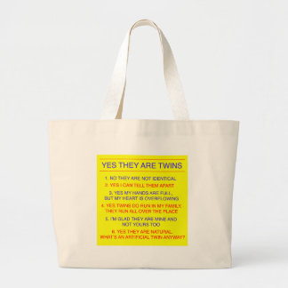 Twins Questions Fraternal Yellow Large Tote Bag