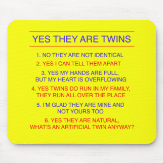 Twins Questions Fraternal Yellow Mouse Pad