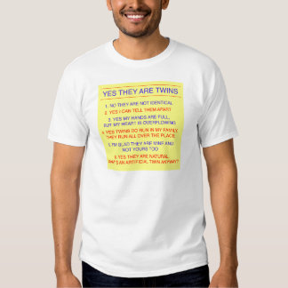 Twins Questions Fraternal Yellow Tee Shirt