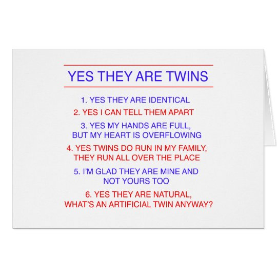 Twins Questions Identical Card
