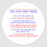 Twins Questions Identical Classic Round Sticker