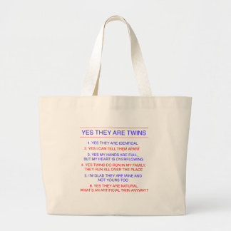 Twins Questions Identical Jumbo Tote Bag