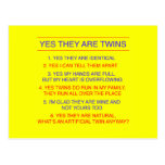 Twins Questions Identical yellow Post Cards