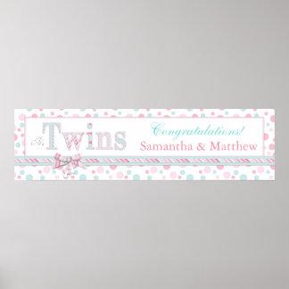 TWINS Retro Pink Aqua Dots Baby Shower Banner Poster