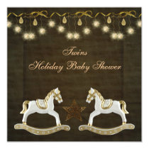 Twins Rocking Horses Neutral Christmas Baby Shower Card