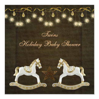 Twins Rocking Horses Neutral Christmas Baby Shower 5.25x5.25 Square Paper Invitation Card