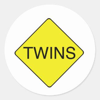 twins sign classic round sticker