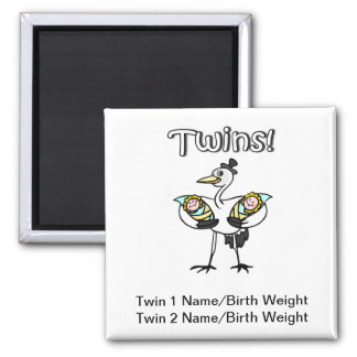 Twins (Stork) 2 Inch Square Magnet