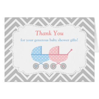 twins strollers baby shower thank you card