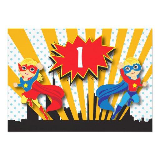 Twins Superhero Birthday     Blonde Personalized Invitations
