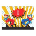Twins Superhero Birthday  |  Blonde 5x7 Paper Invitation Card