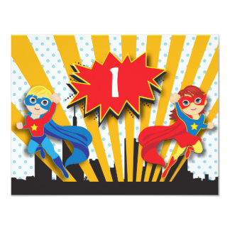 Twins Superhero Birthday  | Boy and Girl 4.25x5.5 Paper Invitation Card
