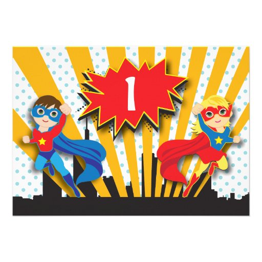 Twins Superhero Birthday    Boy and Girl Custom Announcement