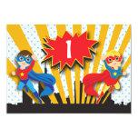 Twins Superhero Birthday  | Boy and Girl 5x7 Paper Invitation Card