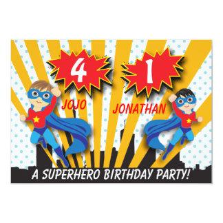 Twins Superhero Birthday | Boys Brown/Black Hair Card