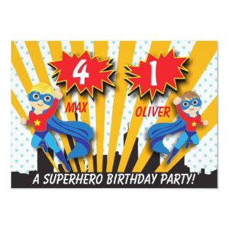 "Twins Superhero Birthday | Boys Brown/Blonde Hair 5"" X 7"" Invitation Card"