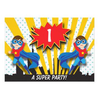 Twins Superhero Birthday Boys Brown Hair Invitations