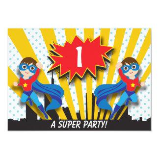 "Twins Superhero Birthday  |  Boys Brown Hair 5"" X 7"" Invitation Card"