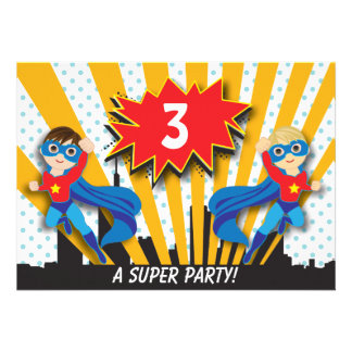 Twins Superhero Birthday | Boys Brown/Sandy Blonde Personalized Announcements