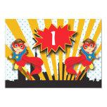 Twins Superhero Birthday  |  Brown Hair Girls Card