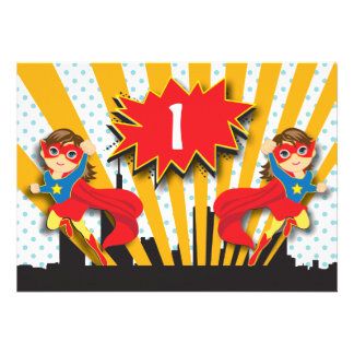 Twins Superhero Birthday  |  Brown Hair Girls Cards