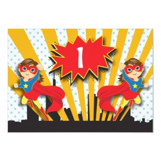 "Twins Superhero Birthday  |  Brown Hair Girls 5"" X 7"" Invitation Card"